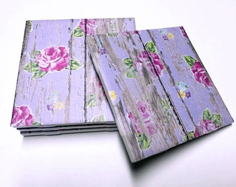 Floral Purple Coasters - Floral Decor - Drink Coasters - Flower Decor - Tile Coasters - Ceramic Coasters - Table Coasters
