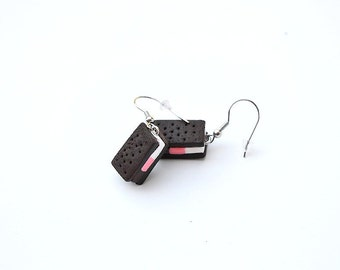 The ice cream sandwich in fimo, polymer, earrings greedy, greedy jewelry, sweet jewelry, gourmet miniature