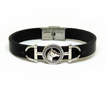 Mens leather bracelet, Equestrian bracelet, Horse bracelet, Women bracelet, Horse charm, Leather bracelet, Gift for him, Bracelet homme
