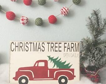 Christmas Tree Farm Sign - Vintage truck wood sign - Vintage Christmas sign - Christmas inspired home decor