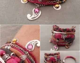 Fuchsia Grey Caramel Bollywood Bracelet, Gypsy Bracelet, Bohemian Bracelet, Oriental Style Jewelry, Paisley Bracelet, Textile Statement