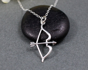Bow and Arrow Necklace Sterling Silver   Sagittarius Necklace   Archer Necklace   Archery Necklace   Hunting Necklace   Gift