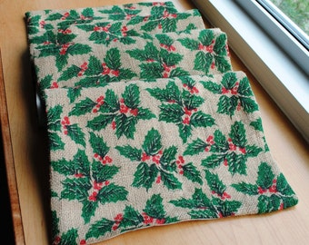 Burlap Table Runner Christmas Holly Green Red Natural Burlap Table Topper LIned