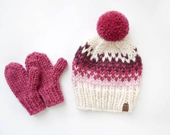 Hat and Mitten Set // Knit Mittens // Girl's Hat and Mittens // Valentine's Day Gift // Fair Isle