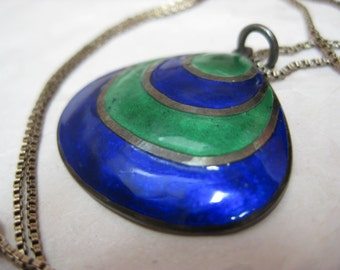 Shell Blue Green Sterling Necklace Enamel Vintage Silver Pendant