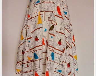 vintage 1950s NOVELTY PRINT fabric circle wrap SKIRT birds in birdcages