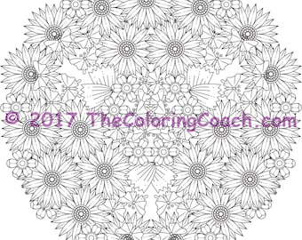 Flowers colouring page for digital download