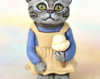 Miniature Kitty Cat Kitten Art Doll, OOAK Original American Shorthair Cat Hand Painted Folk Art Figurine Sculpture, Jodie by Max Bailey