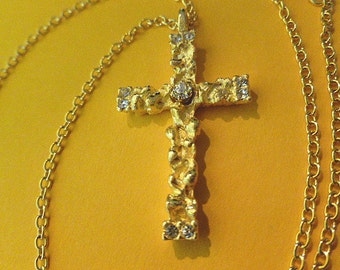 GOLD NUGGET Cross with Rhinestones, Textured Gold Cross Pendant, Vintage Cross and Neck Chain, Gold Cross with Chain, Vintage Cross Pendant