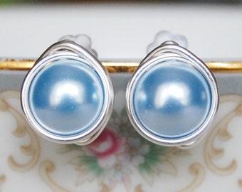 Light Blue Stud Earrings , Bridesmaid Earrings , Powder Blue Studs , Swarovski Pearl Studs