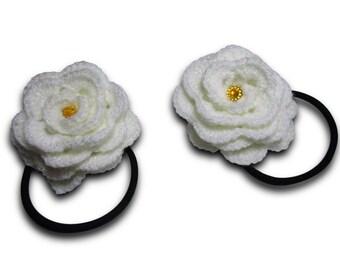 Crochet scrunchy,  Roses Crochet Hair Ties, Elastic hair ties, Flowers hair accessory, White, Elastic hair ties, Flower Ponytail Holder