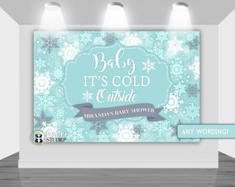 DIGITAL Printable Backdrop Winter Wonderland|| Winter Baby Shower  Backdrop|| Customizable|| Any Wording|| You Print Your Files