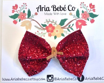 Aria- Red Glitter faux leather