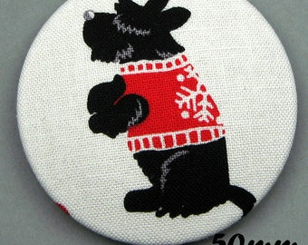Fabric covered button - dog - Scottish Terrier - Scotties (50-05)