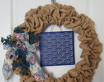 SOLD**** Burlap wreath/wreath for front door/bohemian/blue wreath/geometric/everyday wreath/home decor/door wreath