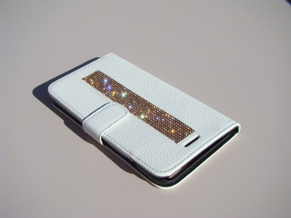 iPhone 6 Plus Wallet Case/ iPhone 6s Plus Wallet Case Rose Gold Rhinestone Crystals on White Wallet Case. Velvet/Silk Pouch bag Included, .
