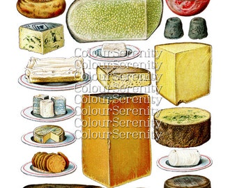 Vintage Cheese Clipart Instant Download 20 images