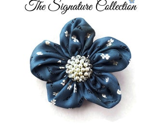 Forget Me Not Fabric Flower Pins - Blue Silk - Flower Clip - Repurposed Neckties - Pins and Clips
