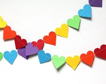 Rainbow Hearts garland (15 feet) - READY TO SHIP