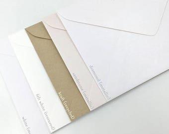 "5x7""/A7 Invitation Envelopes in Matte White 130mmX185mm Made in Australia"