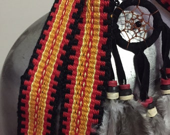 Woven Band, Serengeti Sunset, Red, Yellow, Orange, Black, Woven Cotton, Inkle Loom