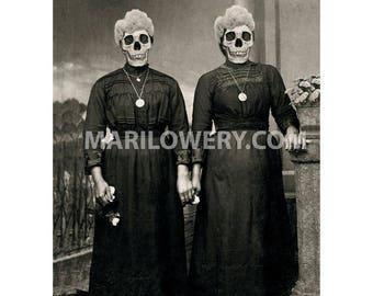 Creepy Art Print, Halloween Decor, 8.5 x 11 Inch Skull Art Print, Black and White, Twin Sisters, Day of the Dead, Horror Art, frighten