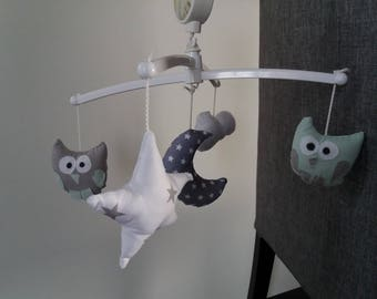 ORDER time 10 days mobile music complete - hanger for baby: OWL green star-Moon-cloud water bed