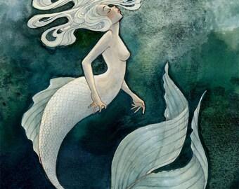 White Mermaid - 8x10 print