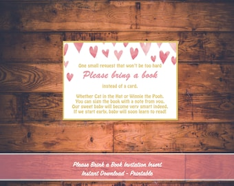 Pink and Gold Heart Baby Shower Invitation Book Inserts