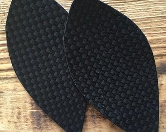 Black matte weave faux leather earrings