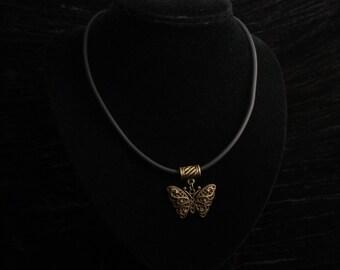 Antique Bronze Filigree Butterfly Pendant on Black Neoprene Necklace