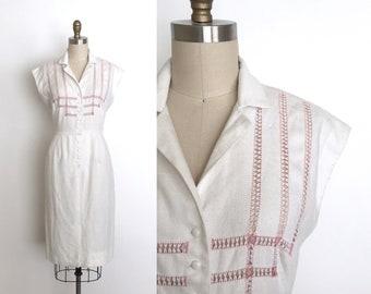 vintage 1950s dress | 50s embroidered linen dress