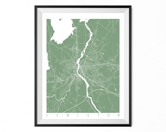 LEWISTON Map Art Print / Maine Poster / Lewiston Wall Art Decor / Choose Size and Color