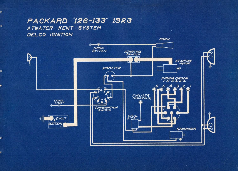1927 Antique Blueprint Auto Car Packard Engineering Wiring ...