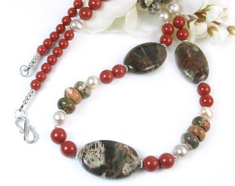 Gemstone Statement Necklace, Brown Green Peacock Jasper, Red Coral Pearls, Sterling Silver, Bohemian Jewelry, Nature Inspired, Handmade