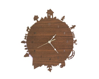 Home Sweet Home Walnut Nursery Kids Clock - With Numbers - for Baby Registry Gift