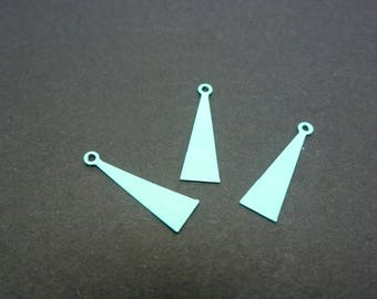 3 charms triangle turquoise metal 15 * 5mm (XBT01)