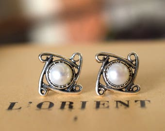 Sterling silver stud pearl earrings white pearl post earrings - wedding white pearl jewelry oxidized gift for her