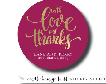 Wedding stickers, thank you stickers, custom thank you stickers, favor stickers, wedding favor stickers, thank you personalized sticker
