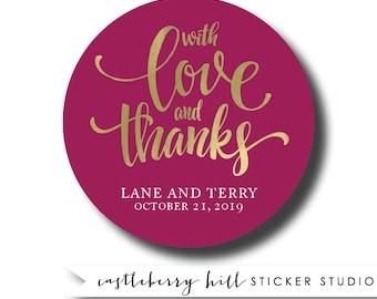 Wedding stickers, thank you stickers, custom thank you stickers, favor  stickers, wedding