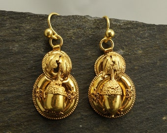 Antique Victorian Oak Leaf and Acorn Earrings in 15ct Gold, c1870