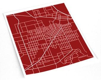 Missoula City Map Art Print / University of Montana Wall Art Poster / 8x10 / Choose your Color