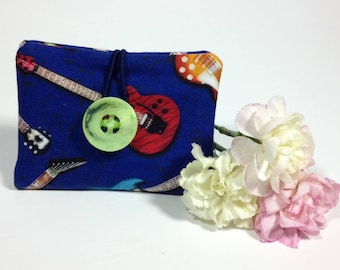 Credit Card Wallet, Guitar Theme Fabric Mini Wallet, Gift Card Holder, Business Card Case, Loyalty Card Pouch, Mini Wallet, Gifts Under 10
