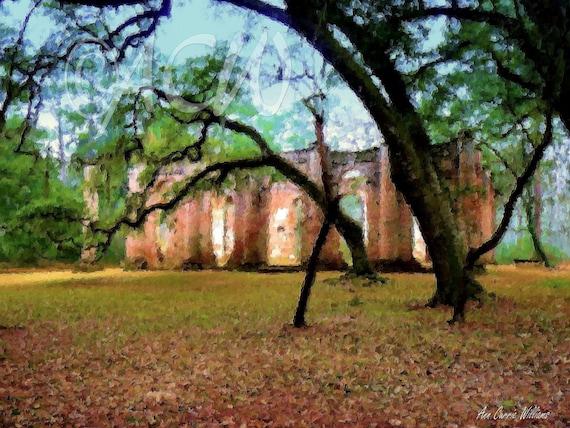 Sheldon Church, Yemassee, South Carolina (canvas)