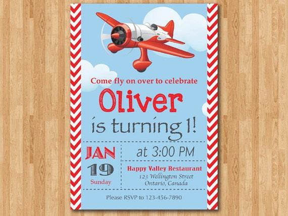 Airplane Birthday Invitation Airplane Theme Party Invite Boy