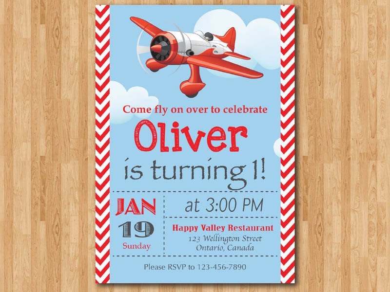 Airplane Birthday Invitation. Airplane Theme Party Invite. Boy