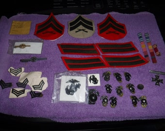Marine corps badges, tie tacks, pins, patches & more 30+pcs