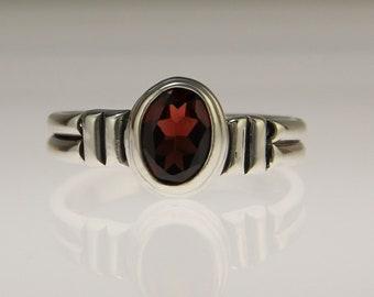 Sterling Silver Garnet Ring/ Simple Garnet Ring/ One of a Kind Garnet Ring/ January Birthstone/ Gift for Her/ Birthday Gift/ Bezel Set Ring