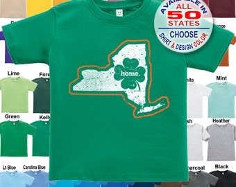New York Home State Irish Shamrock T-Shirt - Boys / Girls / Infant / Toddler / Youth sizes