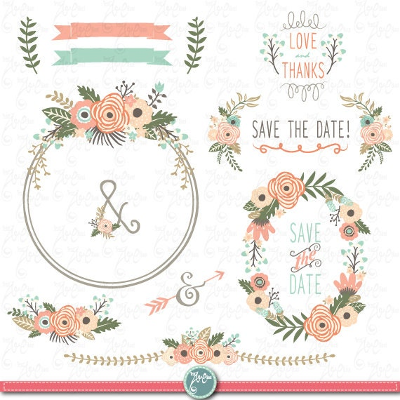 Save The Date Wedding Floral Ornament Wedding Floral: Hochzeit Clipart Pack: FLORAL Kranz Clip Vintage